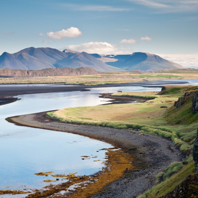 """""""beautiful mountain scenery by the sea at Hunafjordur, Iceland"""" stock image"""