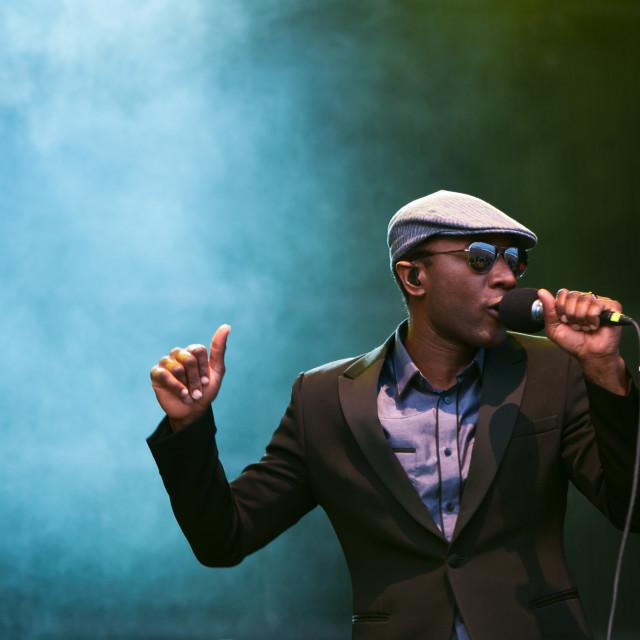 """TRENCIN,SLOVAKIA - JULY 6: Aloe Blacc performs at the Bazant Pohoda Music..."" stock image"