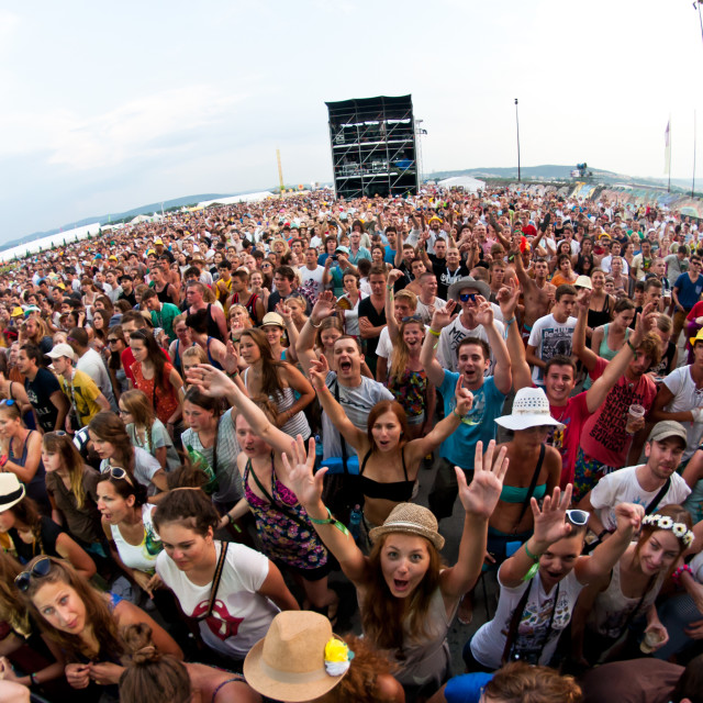 """""""TRENCIN,SLOVAKIA - JULY 7: Crowd in front of the stage at the Bazant Pohoda..."""" stock image"""
