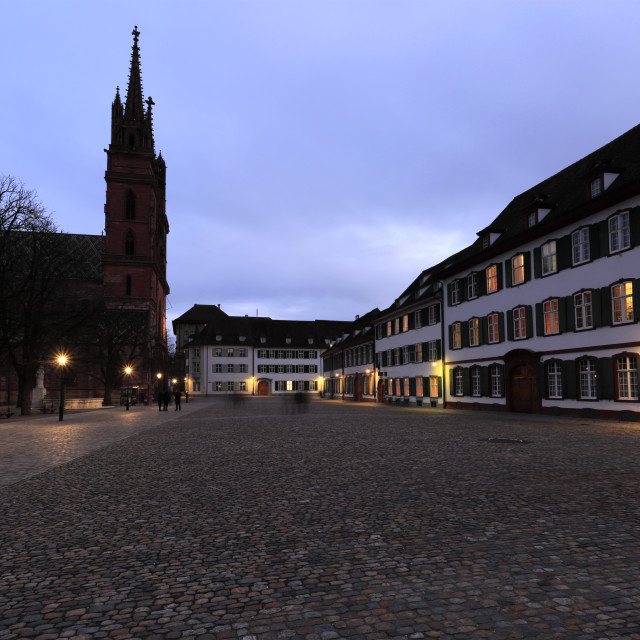 """""""Dusk view of Basel Cathedral Munster, city of Basel, Canton Basel Stadt,..."""" stock image"""