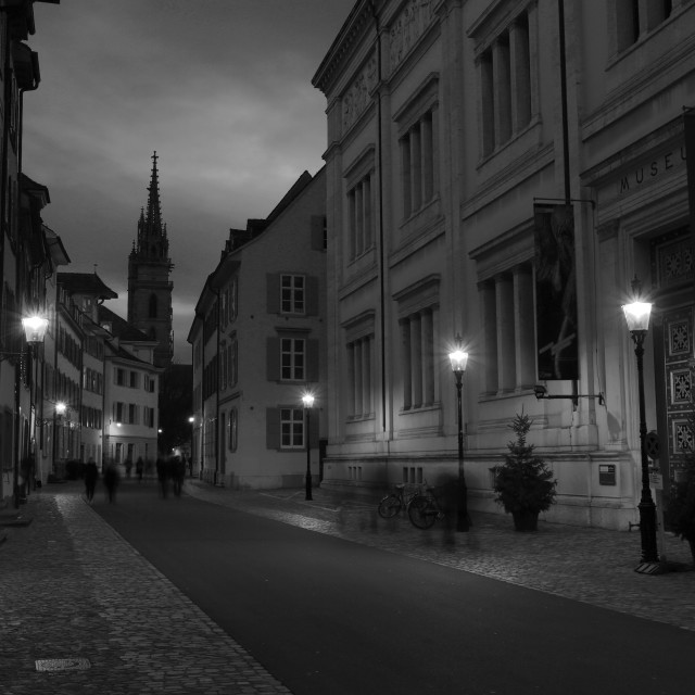 """""""Dusk view of buildings in the Munsterplatz, city of Basel, Canton Basel..."""" stock image"""