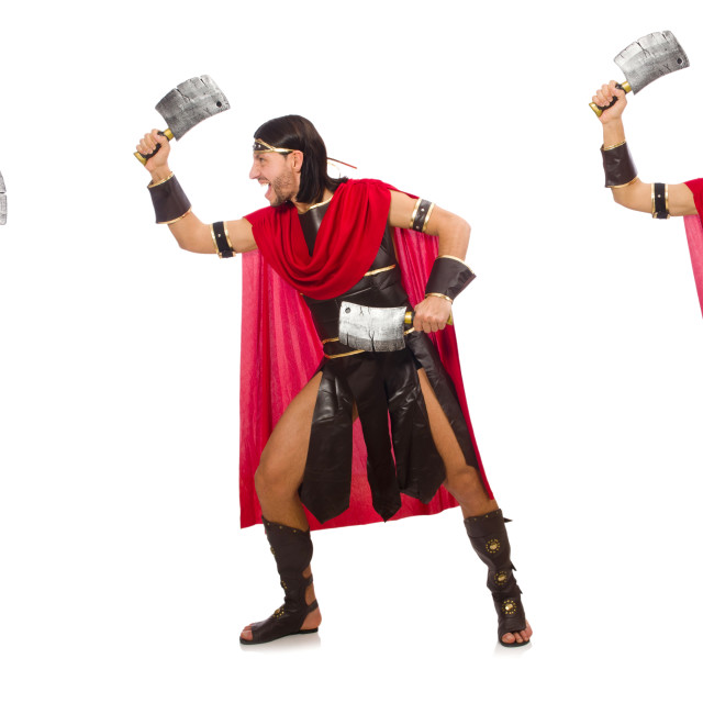 """""""Gladiator with cleaver isolated on white"""" stock image"""