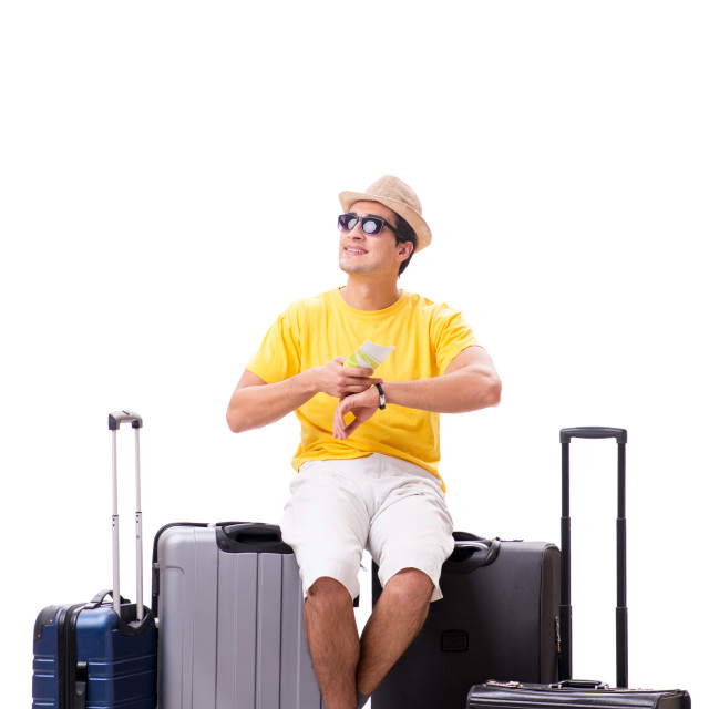 """""""Happy young man going on summer vacation isolated on white"""" stock image"""