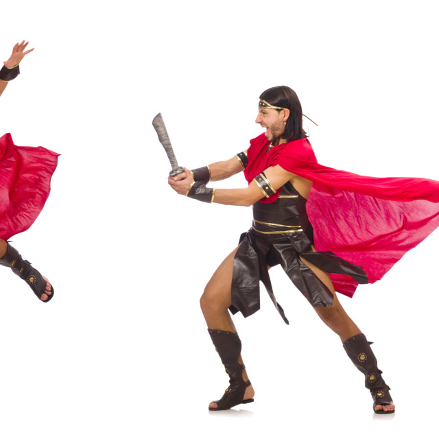 """""""Gladiator with sword isolated on white"""" stock image"""
