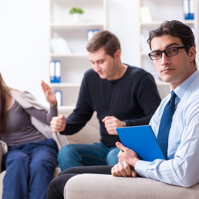 """""""Family visiting psychologist for family problem"""" stock image"""