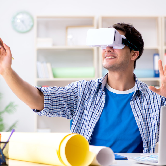 """""""Young designer with virtual reality VR glasses"""" stock image"""