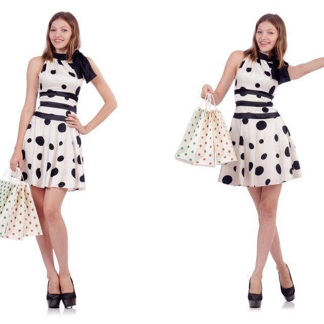 """""""Young woman with shopping bags on white"""" stock image"""