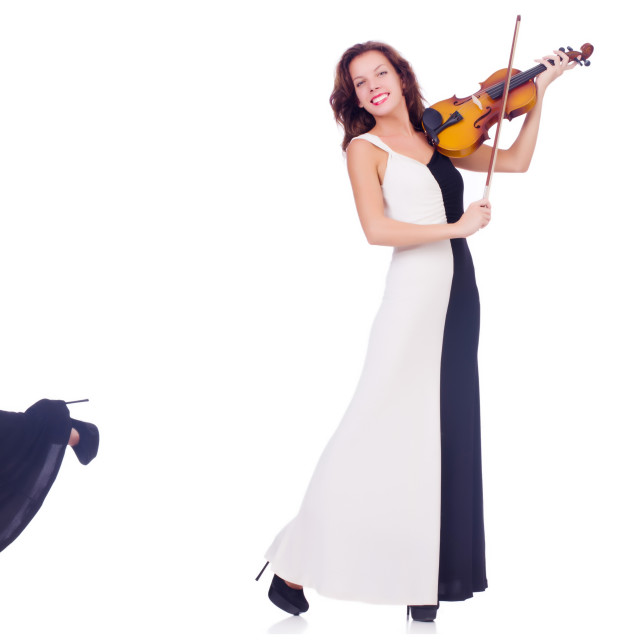 """""""Woman playing violin isolated on white background"""" stock image"""