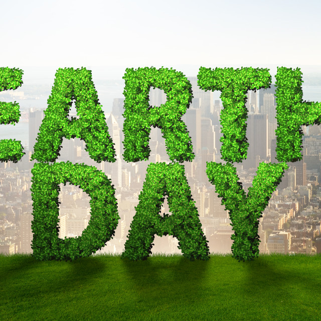 """""""Earth day concept with green letters"""" stock image"""