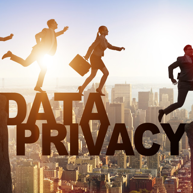 """""""Business people escaping responsibility for data privacy"""" stock image"""