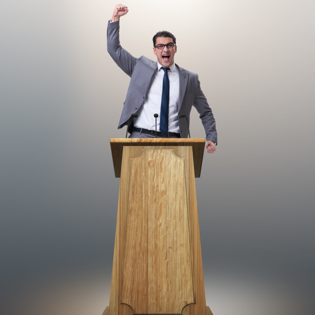 """""""Businessman making a speech in business concept"""" stock image"""