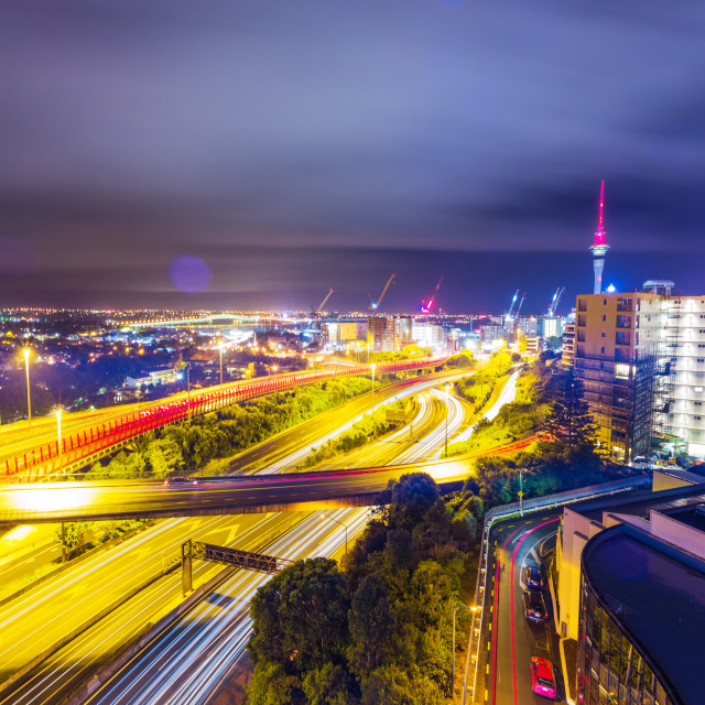 """Auckland city view with sky tower"" stock image"