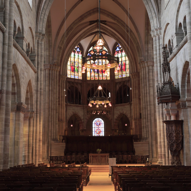 """""""Interior of Basel Cathedral Munster, city of Basel, Canton Basel Stadt,..."""" stock image"""