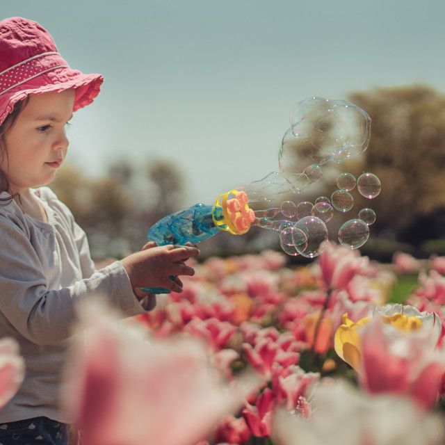 """""""A little girl blowing soap bubbles in summer park"""" stock image"""