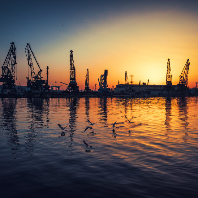 """Aerial view of Varna sea port and industrial cranes, Bulgaria."" stock image"