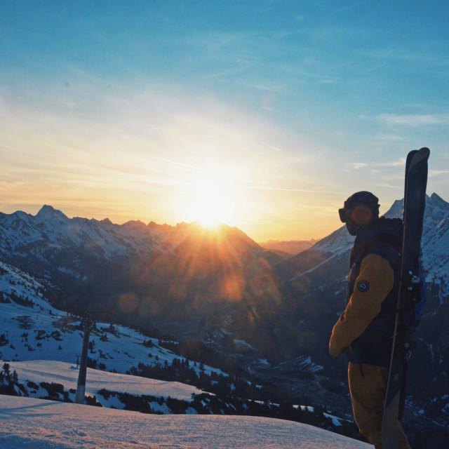 """Sunrise over St Anton"" stock image"