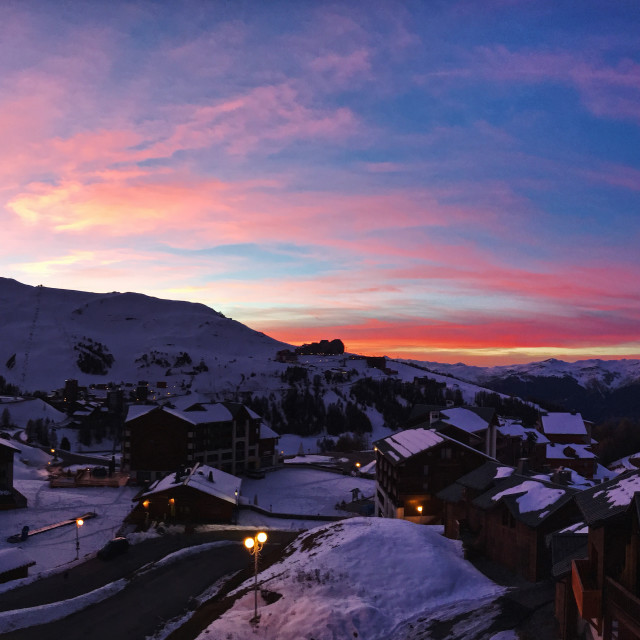 """Sunset over La Plagne"" stock image"