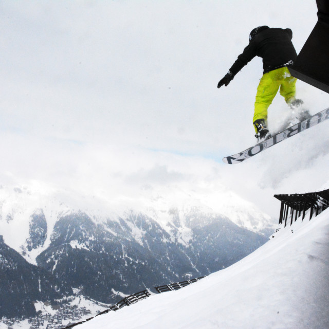 """""""Dropping Avalanche Barriers"""" stock image"""