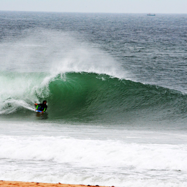 """""""Unknown bodyboarder at Supertubos"""" stock image"""