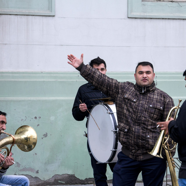 """ZRENJANIN, SERBIA - FEBRUARY 28, 2015:Roma music band rehearsing before a..."" stock image"