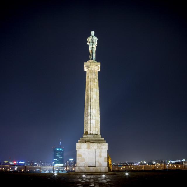 """Victor statue on Kalemegdan fortress by night - Belgrade - Serbia"" stock image"