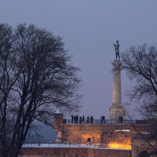 """Victor statue on Kalemegdan fortress at sunset in winter - Belgrade - Serbia"" stock image"