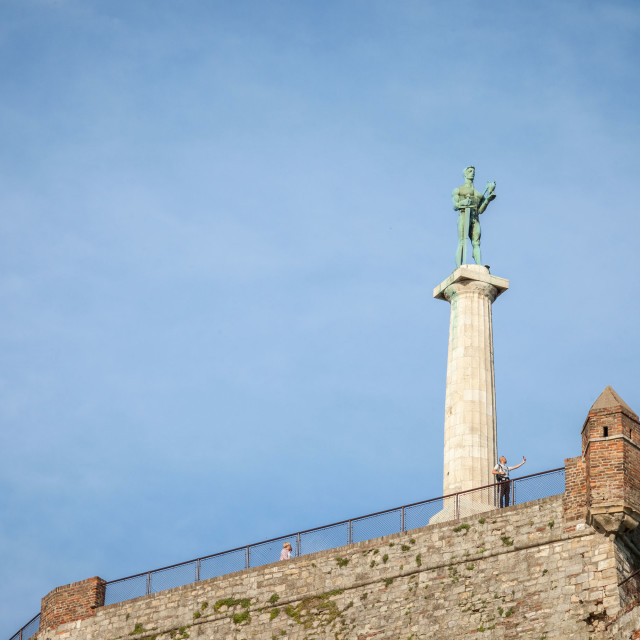 """""""Victor statue on Kalemegdan fortress seen from the bottom in Belgrade, Serbia"""" stock image"""