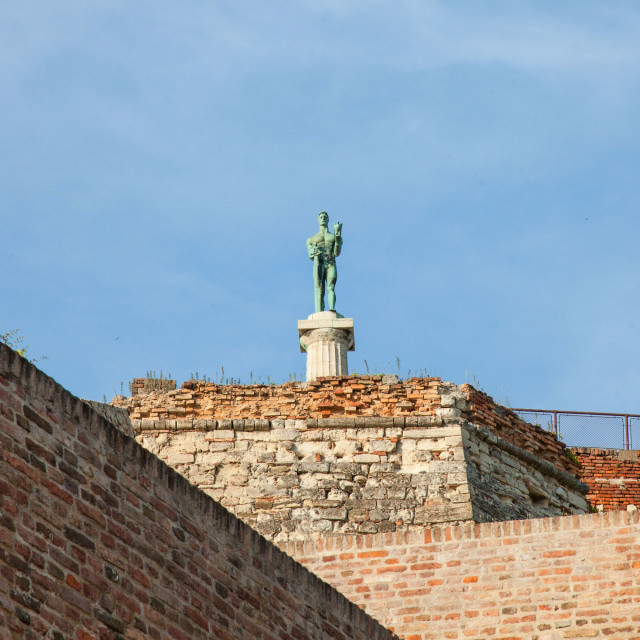 """""""Victor statue on Kalemegdan fortress seen from the bottom in Belgrade, Serbia..."""" stock image"""