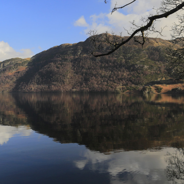 """""""Spring view of Ullswater from Glencoyne with Place fell, Lake District..."""" stock image"""