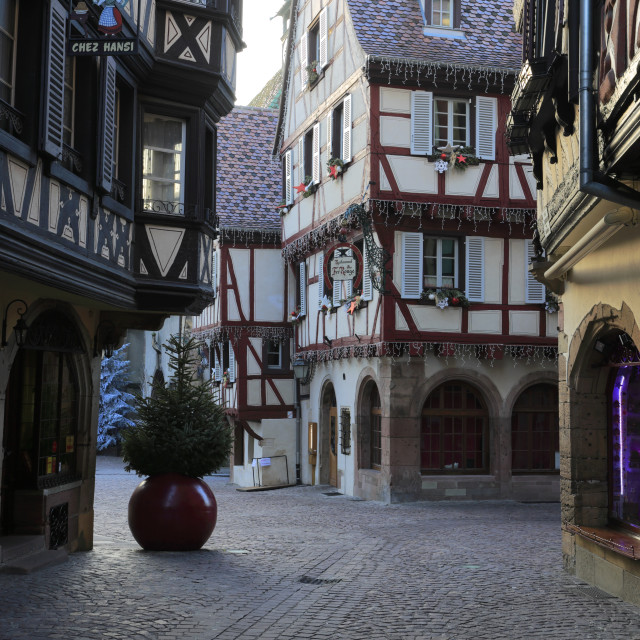 """Christmas Decorations on Shops and timber framed houses, Colmar town,..."" stock image"