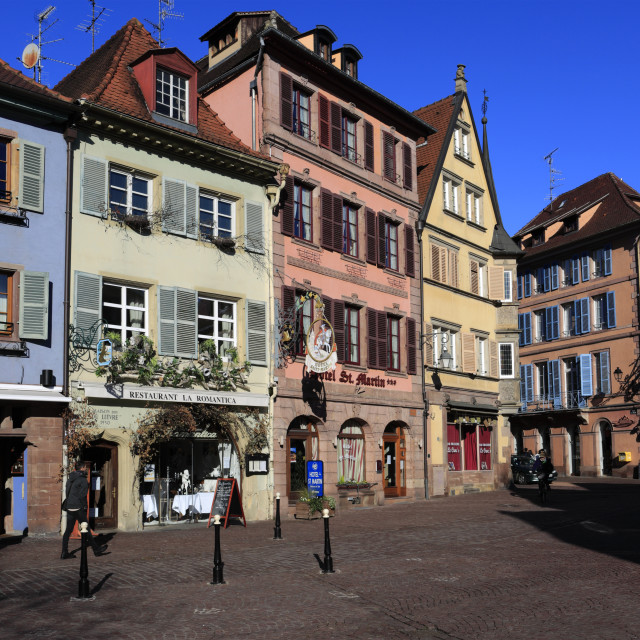 """Shops and colorful façades of timber framed houses, Colmar town, Alsatian..."" stock image"
