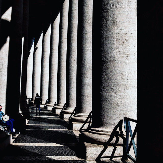 """Vatican City St. Peter's Square shadows April 2018"" stock image"