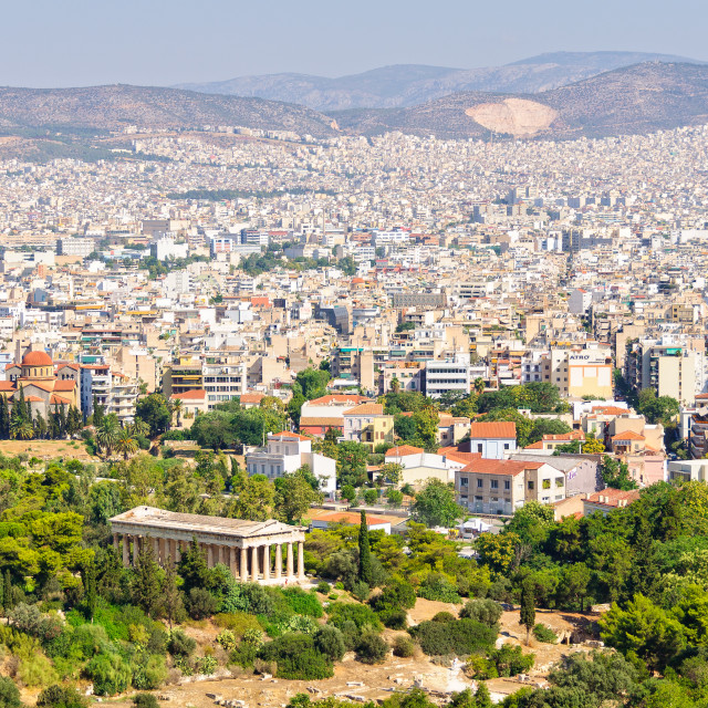 """""""View from the Beule Gate to the Acropolis - Athens"""" stock image"""