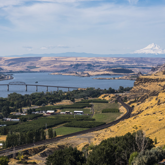 """""""Columbia River vista, with expansive views and the snow-capped Mount Hood in..."""" stock image"""