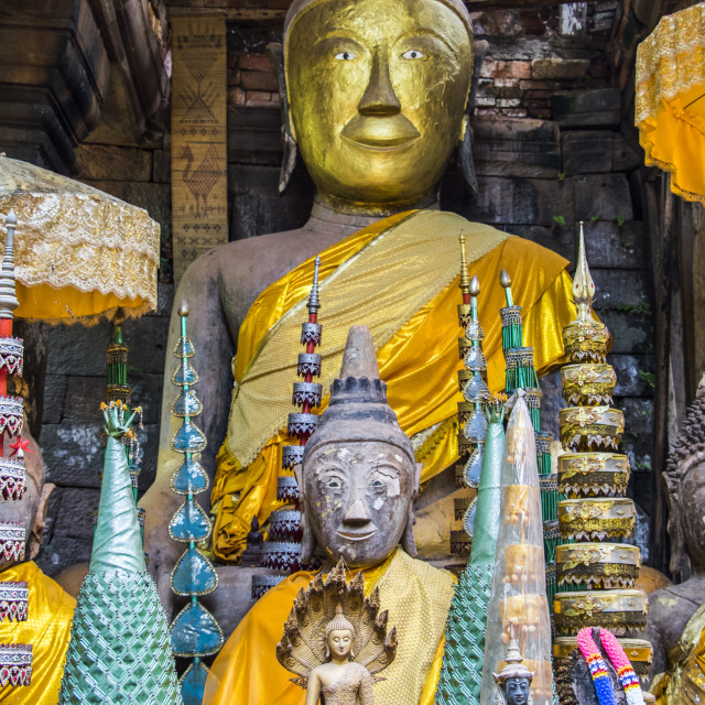 """""""Buddha statues in the Main Sanctuary of the Vat Phou Temple Complex;..."""" stock image"""