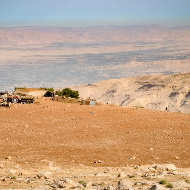 """Panorama from Mount Nebp hill, place of Moses grave, to the valley with a..."" stock image"