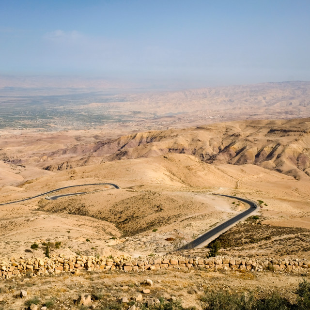 """Panorama from Mount Nebp hill, place of Moses grave, to the valley in Mount Nebo"" stock image"