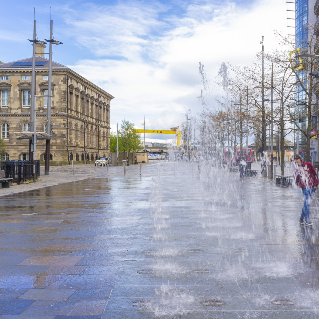 """""""Belfast Fountains"""" stock image"""