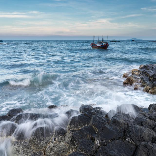 """The Sea & the Boat"" stock image"