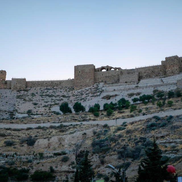 """""""View of the old crusader castle on the hill in Kerak"""" stock image"""