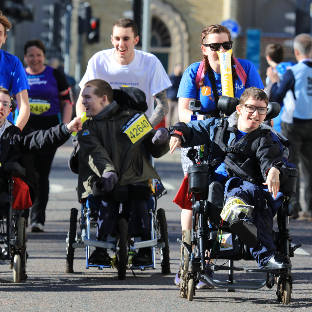 """Wheelchair participants in the Brighton Marathon"" stock image"