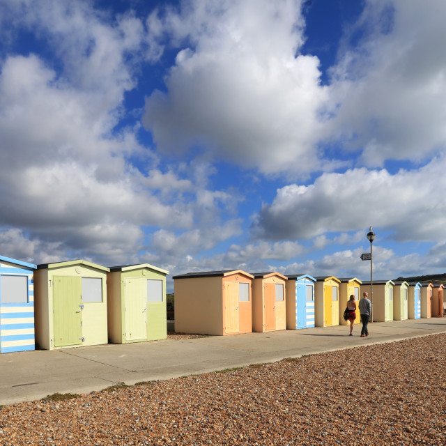 """Beach Huts at Seaford"" stock image"
