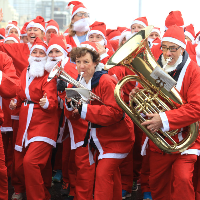 """Start of the Santa Dash in Hove"" stock image"