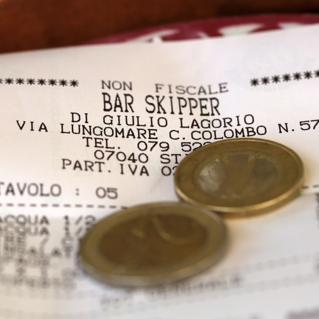 """Bar Bill in Sardinia"" stock image"
