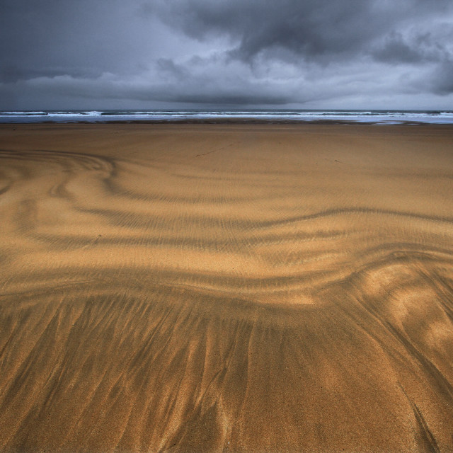 """Sand Patterns on Freshwater West, Pembrokeshire"" stock image"