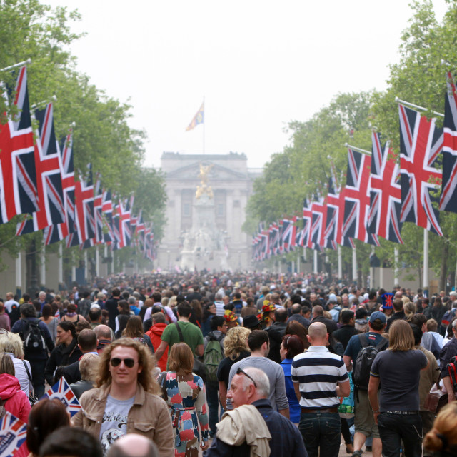 """Crowds in the Mall for the wedding of Kate and William"" stock image"