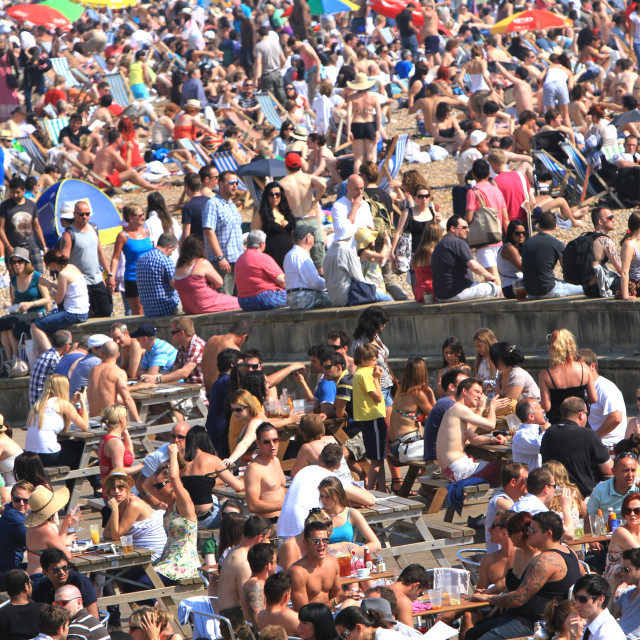 """Brighton Beach on a crowded summer day"" stock image"