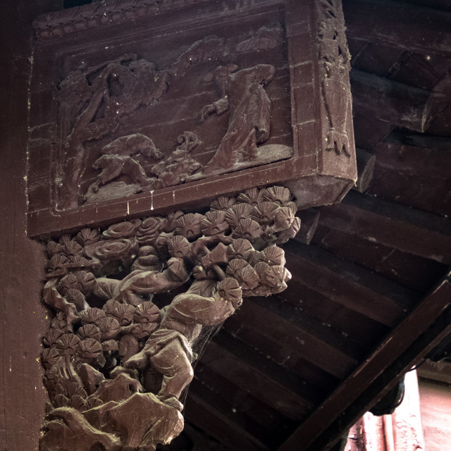 """""""Carving in the Eaves"""" stock image"""