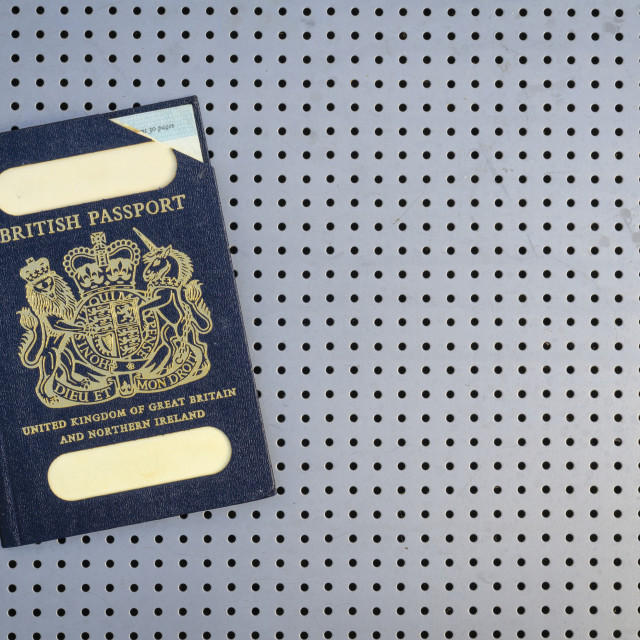 """Expired British Passport with Blue Cover"" stock image"