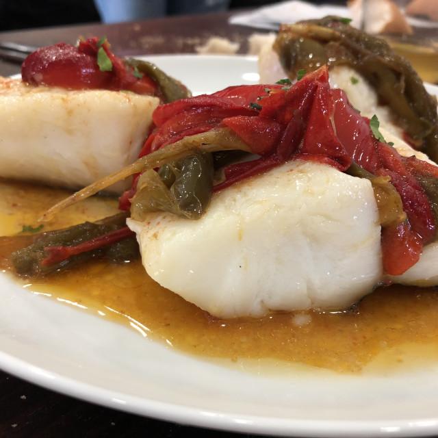 """A tasty bacalao a la vasca (cod fish)"" stock image"